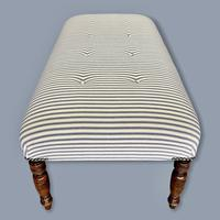 Buttoned Ticking Low Footstool (5 of 8)