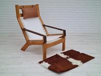 Scandinavian armchair, adjustable back, cowhide, 70s (8 of 20)
