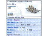 0.22ct Sapphire & 1.82ct Diamond, 18ct Yellow & White Gold Spray Brooch c.1930 (8 of 9)