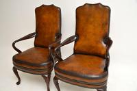 Pair of Georgian Style Leather & Mahogany Armchairs c.1930 (4 of 11)