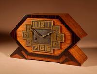 Very Stylish Typical Art Deco Amsterdam School Oak & Macassar Ebony / Coromandel Mantel Clock