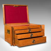 Antique Collector's Specimen Case, English, Oak, Chest, Jewellery Box, Edwardian