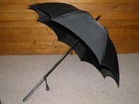 Vintage Indian Silver Black Canopy Umbrella With Bold Hindu God Themed Handle (4 of 11)