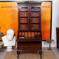 Secretaire Bureau Bookcase Astragal Glazed Mahogany Library Cabinet Edwardian (3 of 14)