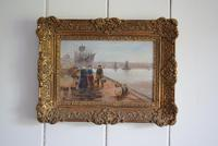 Late 19th Century Oil on Board Quayside Scene A. Juberts