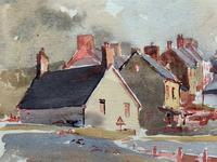 Original Vintage North Wales Coastal Village Landscape Watercolour Painting (10 of 12)