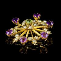 Antique Suffragette Floral Pendant 9ct Gold Amethyst Peridot Pearl c.1910 (4 of 6)