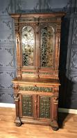 Victorian Carved Oak Secretaire Bookcase (6 of 25)
