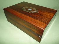 Inlaid Rosewood Writing Box - Extended Office Section c.1870 (8 of 16)