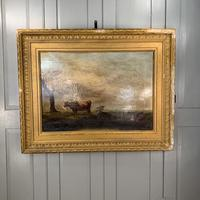 Antique large Georgian landscape oil painting study of cows (2 of 9)