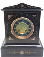 French Slate & Marble Mantel Clock 8 Day Striking Mantle Clock (7 of 8)