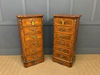 Pair of Victorian Burr Walnut Pillar Chests (2 of 18)