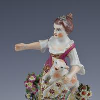Bow Porcelain Figure Girl Shepherdess With Lamb In Apron c.1762-1764 (13 of 13)