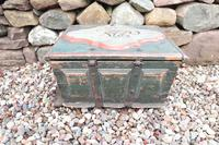 Scandinavian / Swedish 'Folk Art' Baroque Style Blue-Green Original Painted Table Box Late 18th Century (20 of 35)