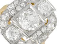 2.65ct Diamond & 18ct Yellow Gold, Platinum Set Dress Ring - French c.1925 (3 of 9)