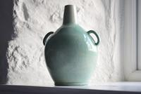 Mid 20th Century Large Light Green Glazed Twin Handled Bottle Vase (3 of 10)