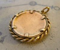 Edwardian Pocket Watch Chain Photograph Fob 1900s Antique Gilt Sepia Fob (6 of 8)