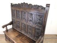 Antique Victorian Carved Oak High Back Settle (5 of 15)
