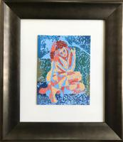 Original Oil Block Painting on Paper 'seated Figure' by Ken Walch 1927-2017. Framed. Signed & Dated 1971 (2 of 2)