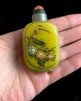 Antique Chinese Enamelled Glass Snuff Bottle, Cricket, Mantis, Yung Cheng (7 of 12)