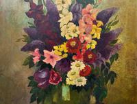 Large 19th Century French Farmhouse Impressionist Still Life Floral Oil Painting Signed (4 of 12)