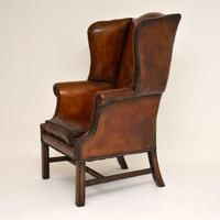 Antique Leather & Mahogany Wing Back Armchair (2 of 11)