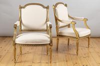 Pair of Large 19th Century Louis XV1 Style French Gilt Armchairs (4 of 10)
