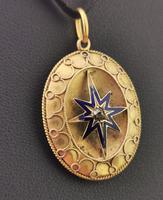 Victorian Diamond Star Pendant, Blue Enamel, 9ct Gold (5 of 11)