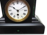 Amazing French Slate Mantel Clock Timepiece Mantle Clock with Machilite Inlay (4 of 11)