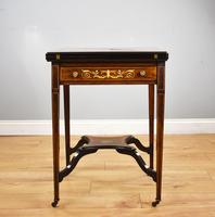 Victorian Rosewood Inlaid Envelope Card Table (3 of 10)