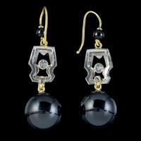 Art Deco Onyx Diamond Drop Earrings Platinum 18ct Gold Circa 1920 (2 of 4)