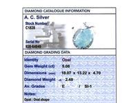 5.08ct Opal & 2.49ct Diamond, Platinum Dress Ring c.1950 (6 of 9)