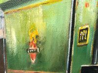 Oil Painting Railway Train Engine Princess Margaret 4056 With Figures Signed Ken Allsebrook (10 of 13)