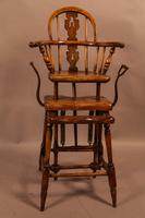 Rare Victorian Childs Exercise Chair Yew Wood