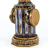 French Blue & Gilt Porcelain Cased Mantel Clock in the Form of a Column (2 of 3)