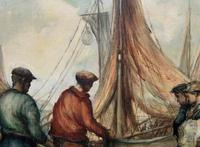 Cornish School - Large early 1900s Oil Painting of Fishermen Pulling in the Nets (10 of 14)