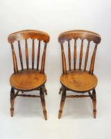 Pair of Good Quality Victorian Windsor Spindle Back Kitchen Chairs in Beech & Elm (2 of 10)