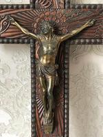 Antique Victorian Carved Gilt Silver Religious Crucifix Jesus Christ Lord Wall Plaque (11 of 11)