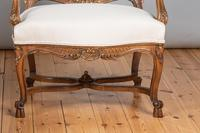 Pair of Large French Walnut & Parcel-Gilt Armchairs (5 of 10)