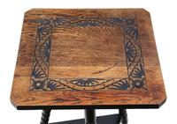 C1910 Carved Oak Tripod Occasional Side Table (2 of 4)