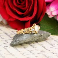 The Antique Victorian 1862 Pearl & Rose Cut Ornate Diamond Ring