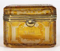 Bohemian Antique Engraved Metal Mounted Overlay Yellow Glass Sugar Casket 19th Century (9 of 19)