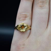 Vintage Round Citrine Solitaire 9ct 9K Yellow Gold Ring (7 of 10)
