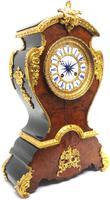 Antique French Burr Walnut & Ormolu 8-Day Mantel Clock Rococo Boulle Case Segment Dial (6 of 11)