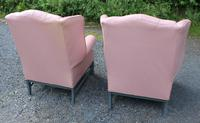 Pair of Lilac Leather Wingback Armchairs with Buttoned Backs (3 of 3)