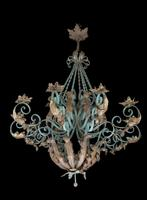 Early 20th Century Polychrome Wrought Iron Chandelier (3 of 6)