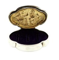 Antique Victorian Sterling Silver 'Cherub' Ring Box 1898 (5 of 9)