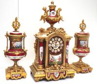 Incredible French Sevres Mantel Clock French Striking 8-day Garniture Clock Set (3 of 19)