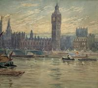 William Henry Harford - Houses of Parliament Riverscape Painting 19th Century (6 of 10)