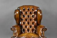 19th Century Victorian Hand Dyed Brown Leather Wing Back Armchair (6 of 9)